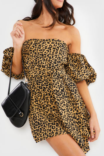 LEOPARD PRINT PUFF SLEEVE BARDOT MINI DRESS