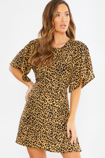 open back a line leopard mini dress