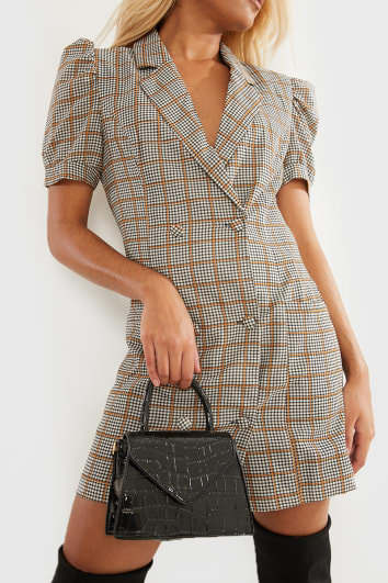 GIADDA BROWN CHECK PUFF SLEEVE MINI BLAZER DRESS