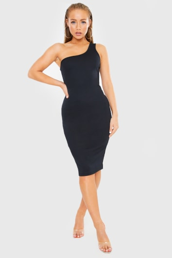 BLACK ONE SHOULDER RIBBED MIDI DRESS