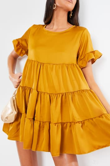 GOLD SATIN SMOCK TIERED FRILL MINI DRESS