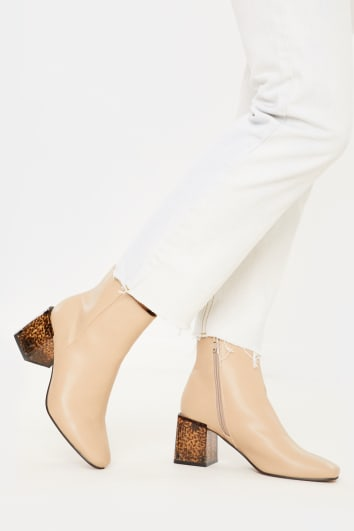 NUDE PU SEAM DETAIL ANKLE BOOTS
