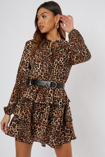 leopard print button detail tiered dress