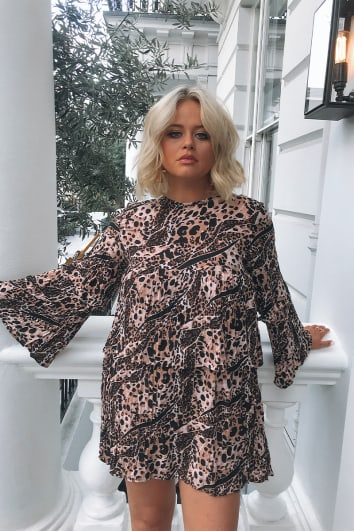 EMILY ATACK ABSTRACT LEOPARD FRILL MINI DRESS