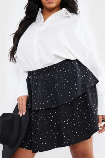 CURVE STEPHSA BLACK POLKA DOT TIERED MINI SKIRT