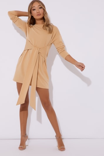camel tie waist sweater mini dress