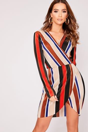 stone stripe pleated wrap dress