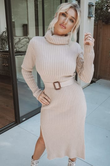 BILLIE FAIERS STONE KNITTED HIGH NECK BELTED MIDI DRESS