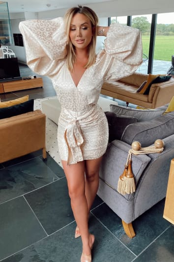 CHARLOTTE CROSBY CREAM LEOPARD JACQUARD SATIN BALLOON SLEEVE DRESS