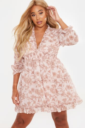 CURVE LAILA LOVES CAMEL FLORAL CHIFFON FRILL PLUNGE MINI DRESS