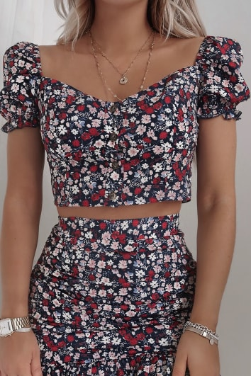 FASHION INFLUX NAVY FLORAL PUFF SLEEVE SWEET HEART TOP