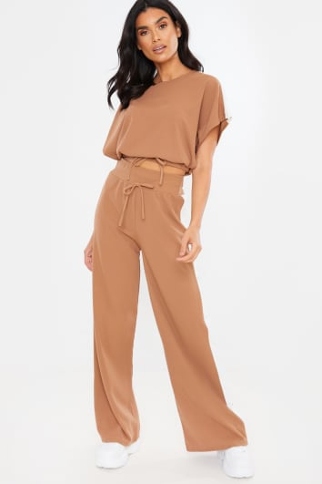 TAN CROPPED RUCHED TIE FRONT DETAIL LOUNGEWEAR SET
