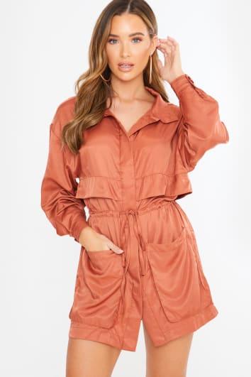 rust tie waist mini shirt dress