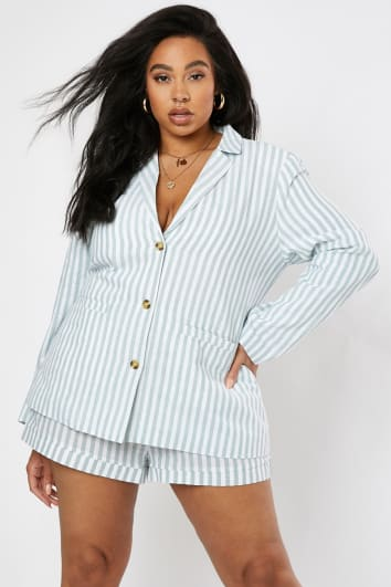 CURVE LAURA JADE GREEN STRIPED SINGLE BREASTED CO-ORD BLAZER