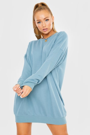 BLUE OVERSIZED SWEATER DRESS