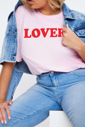 CURVE CHARLOTTE CROSBY PINK 'LOVER' SLOGAN T SHIRT