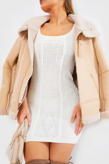 BILLIE FAIERS CREAM CABLE KNIT SCOOP NECK DRESS