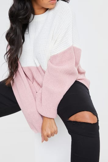 CURVE DANI DYER PINK AND WHITE COLOUR BLOCK JUMPER