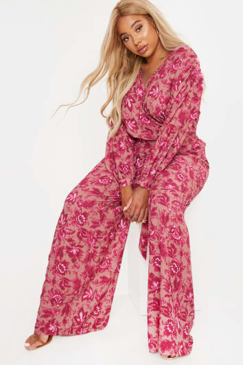 CURVE LAILA LOVES PINK FLORAL WIDE LEG TROUSERS