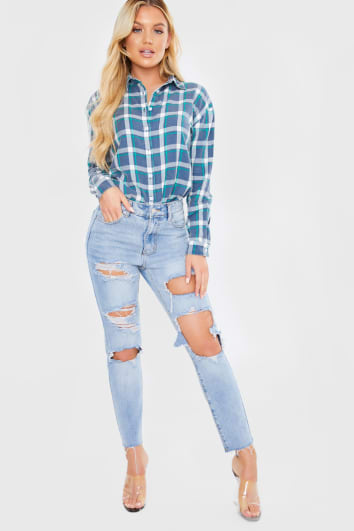 LIGHT WASH DENIM MULTI RIPPED MOM JEANS