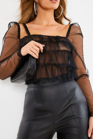 BLACK TULLE FRILL PUFF SLEEVE TOP
