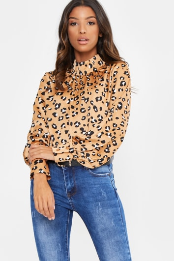GOLD LEOPARD SATIN LONG SLEEVE BLOUSE