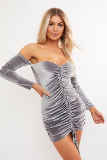grey velvet ruched bardot mini dress