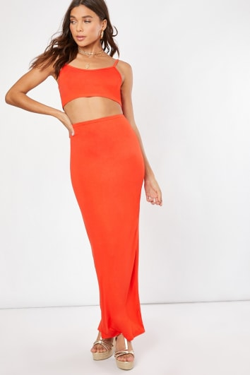 orange co-ord maxi skirt