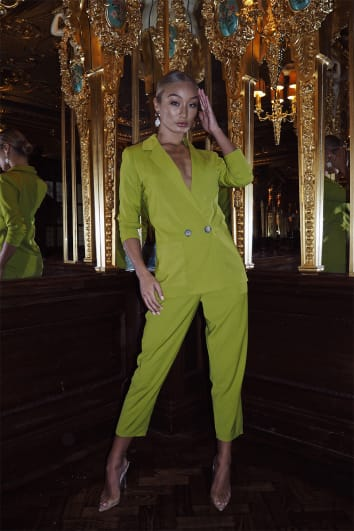 LAILA LOVES CHARTREUSE BALLOON FIT TAILORED TROUSER