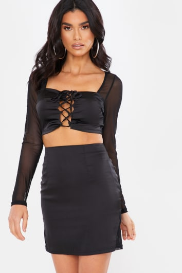 BLACK SATIN LACE UP CROP TOP AND MINI SKIRT CO ORD
