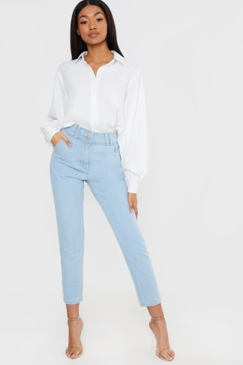 THE LEO LIGHT BLUE PINTUCK DETAIL OVERSIZED MOM JEAN