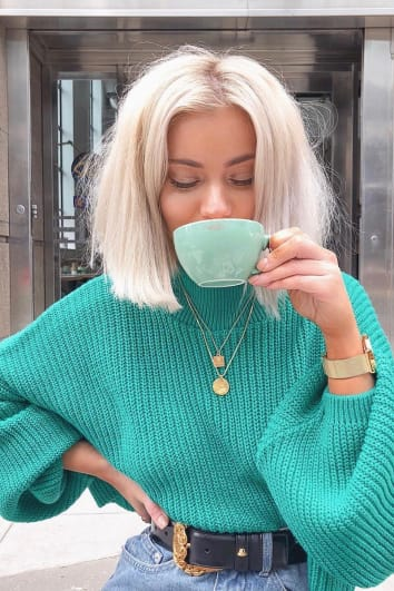 LAURA JADE GREEN CROPPED BALLOON SLEEVE JUMPER