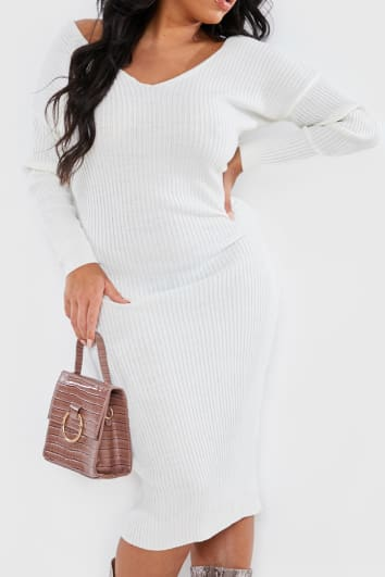 CURVE BILLIE FAIERS CREAM KNITTED MIDI DRESS