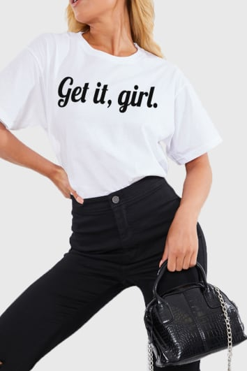 CHARLOTTE CROSBY WHITE 'GET IT GIRL' SLOGAN T SHIRT