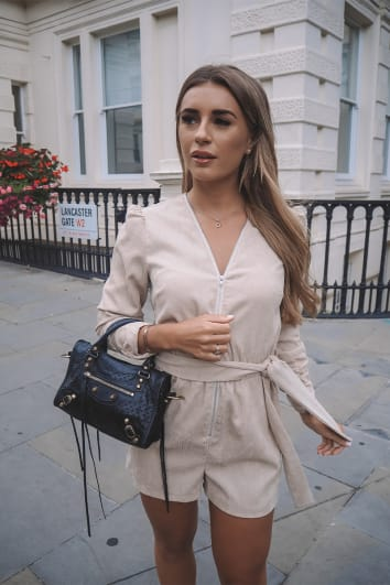 DANI DYER STONE CORDUROY PUFF SLEEVE ZIP THROUGH PLAYSUIT