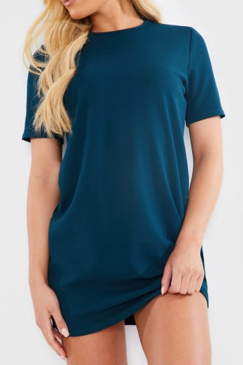 TEAL BASIC CREPE T SHIRT DRESS