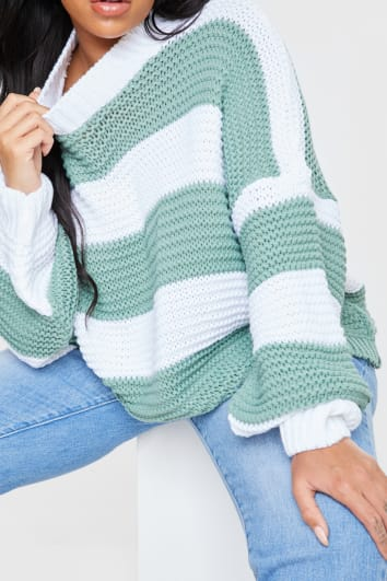 CURVE BILLIE FAIERS GREEN CHUNKY STRIPE KNIT JUMPER