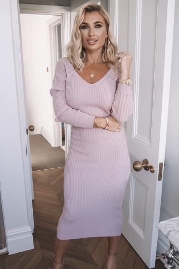 BILLIE FAIERS PINK KNITTED MIDI DRESS