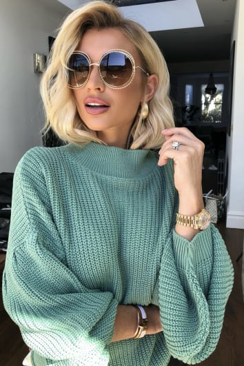 BILLIE FAIERS GREEN BALLOON SLEEVE KNIT JUMPER