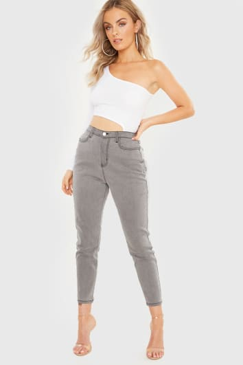 MEGGAN GRUBB GREY WASHED SLIM MOM JEANS