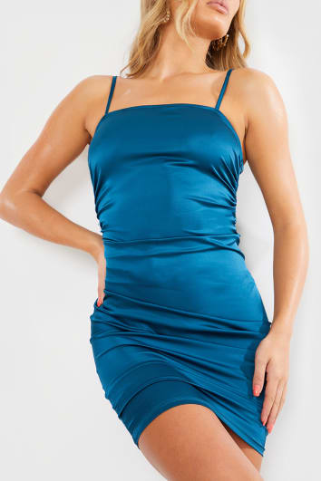 TEAL SATIN RUCHED STRAPPY MINI DRESS