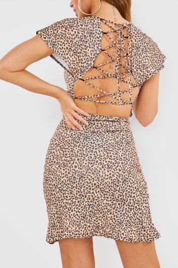 NUDE LEOPARD PRINT OPEN BACK TIE DETAIL MINI DRESS
