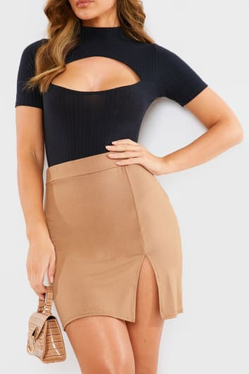 BASIC CAMEL JERSEY SPLIT DETAIL MINI SKIRT