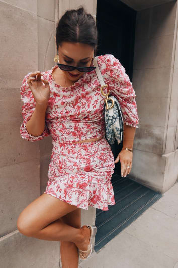 LORNA LUXE 'PRACTICALLY PERFECT' PORCELAIN PINK PUFF SLEEVE FITTED CO-ORD TOP