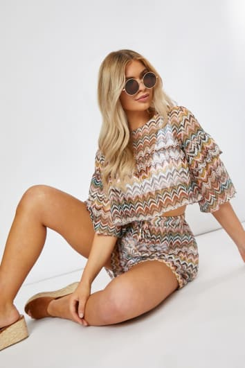 multi colour chevron frill sleeve co-ord top