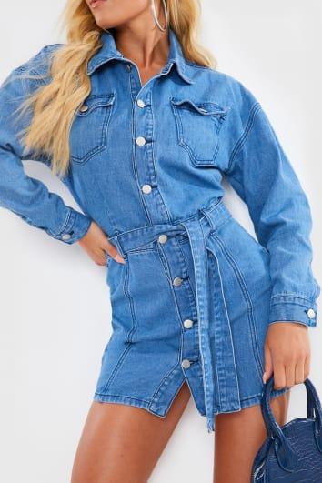 CHARLOTTE CROSBY BLUE WASHED DENIM TIE WAIST DRESS