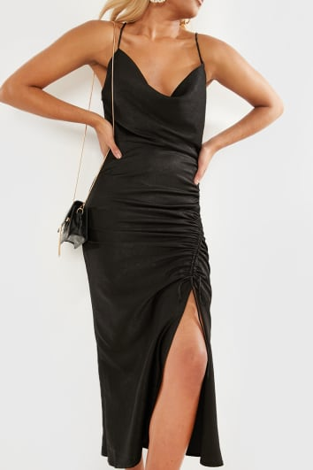 BLACK MATTE SATIN RUCHED CAMI MIDI DRESS