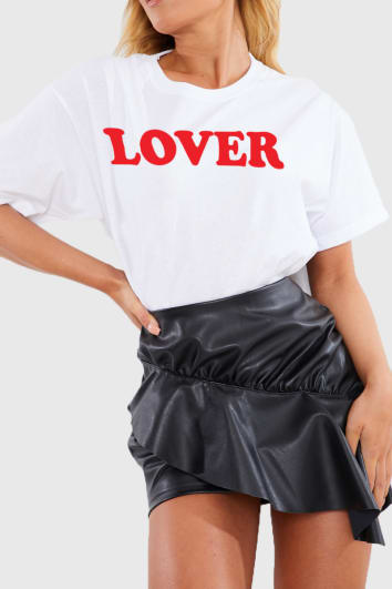 CHARLOTTE CROSBY WHITE 'LOVER' SLOGAN T SHIRT