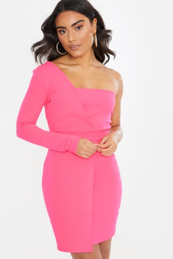 pink crepe asymmetric one sleeve mini dress