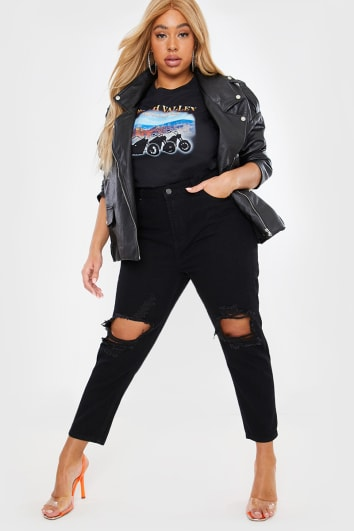CURVE LEO BLACK WASHED EXTREME RIPPED KNEE MOM JEANS